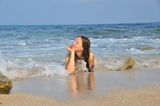Free Girl Lying In The Sea Waves Stock Photo - 20279010