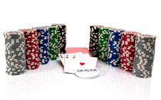 Free Cards And Ultimate Poker Chips On White Royalty Free Stock Photos - 20279268