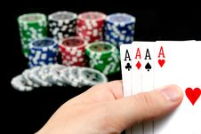 Free Cards And Ultimate Poker Chips Stock Photo - 20279310