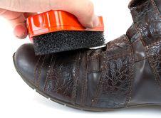 Shoe Brush At White Stock Photography