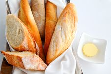 Free Sliced Baguette With Butter Stock Image - 20279901