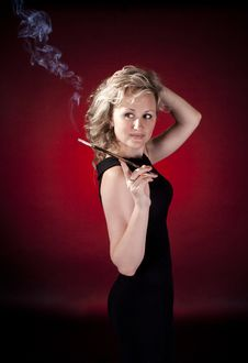 Free Woman With Cigarette Royalty Free Stock Photo - 20279955