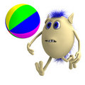 Free Haired 3D Puppet Playing With Colorful Ball Royalty Free Stock Photo - 20281095