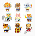 Free Cartoon Animal Worker Icon Set Royalty Free Stock Photos - 20284928