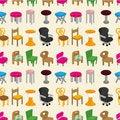 Free Chair Furniture Seamless Pattern Stock Photos - 20284953