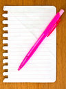 Free Notebook Paper & Pink Pen Stock Images - 20289264