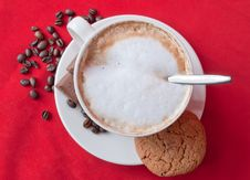 Free Cappuccino, Cookie And Beans Royalty Free Stock Images - 20280299