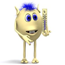 Free Haired Puppet Holding Big Plastic Thermometer Royalty Free Stock Photos - 20280668