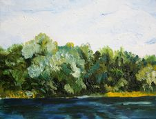 Free Trees Near The Water Oil Painting Stock Image - 20280771