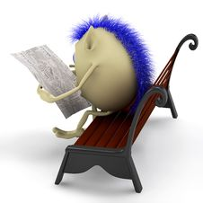Free Look On Puppet Reading Newspaper On Bench Royalty Free Stock Photos - 20281058