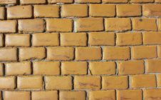 Old Wall Made From Yellow Bricks Stock Photography