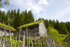 Ancient Wooden Huts, Norway Stock Images