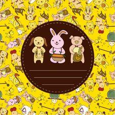 Cartoon Animal Play Music Card Stock Image
