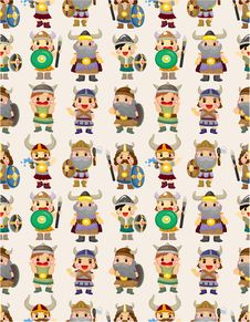 Free Cartoon Vikings Pirate Seamless Pattern Stock Photos - 20284973