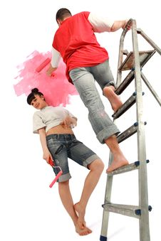 Free Workers Preparing To Painting A Wal Royalty Free Stock Photos - 20285428
