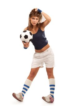 Free Sexy Girl With Soccer Ball Stock Image - 20285431