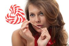 Free Portrait Of Young Woman With Lollipop Royalty Free Stock Photo - 20285435