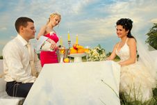 Bride And Groom Sitting At Wedding Table Royalty Free Stock Photos