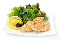 Free Chicken Fillet In Sesame With A Mixture Of Lettuce Stock Photography - 20286092