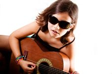 Free Young Girl Playing Guitar, Landscape Royalty Free Stock Photo - 20286135