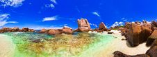 Free Panorama Of Tropical Beach At Seychelles Royalty Free Stock Images - 20286319