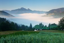 Free Beautiful Summer Mountains Landscape With Mist. Royalty Free Stock Photography - 20286907