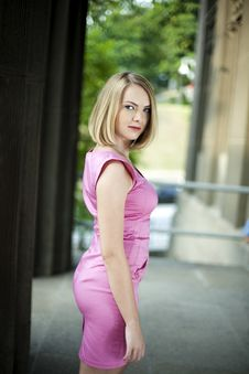 Free Beautiful Blonde In A Stylish Dress Outdoors Stock Photo - 20287120