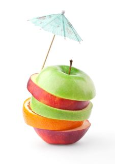 Free Layers Of Apples And Oranges Under Umbrella Royalty Free Stock Image - 20287186