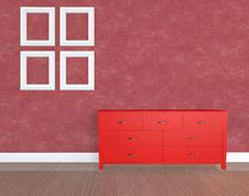Free 3d Render Modern With Red Wall Stock Photos - 20288333