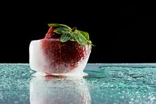 Free Strawberry In Ice Stock Image - 20288761