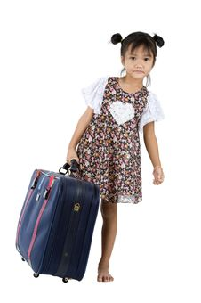 Free Small Girl With Big Suitcase Stock Photos - 20289113