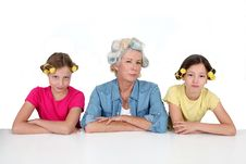 Free Grandma And Girls With Funny Hair Royalty Free Stock Photo - 20289875