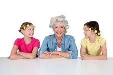 Free Grandma And Girls With Funny Hair Royalty Free Stock Photography - 20289887