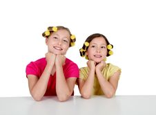 Free Sisters Portrait On White Background Stock Photos - 20289903