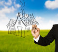 Free Business Hand Drawing A House Stock Photography - 20291362