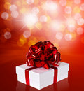 Free Gift In Box With Red Ribbon Stock Image - 20292191