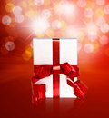 Free Gift In Box With Red Ribbon Stock Photography - 20292202