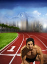 Free Male Runner On Track Field Stock Image - 20299471