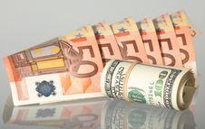 Free Alternatives: Euro And Dollar Banknotes Royalty Free Stock Photography - 20290367