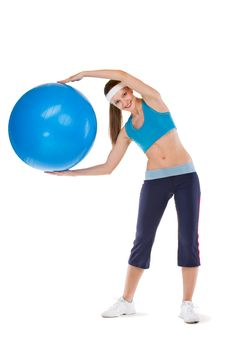 Free Girl Excersices With Fitball Stock Photos - 20290473
