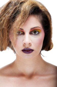 Free Female Against White With Colourful Make Up Stock Photos - 20290503