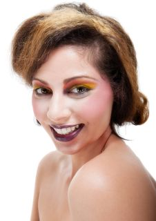 Free Female Against White With Colourful Make Up Royalty Free Stock Photo - 20290555
