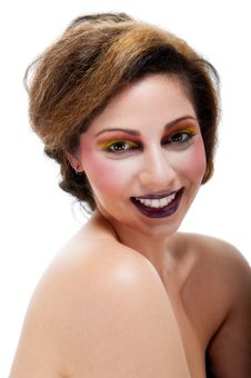 Free Female Against White With Colourful Make Up Royalty Free Stock Images - 20290569