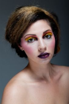 Free Female Against Grey With Colourful Make Up Stock Image - 20290591