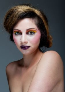 Free Female Against Grey With Colourful Make Up Royalty Free Stock Photography - 20290647