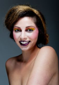 Free Female Against Grey With Colourful Make Up Royalty Free Stock Images - 20290659