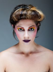 Free Female Against Grey With Colourful Make Up Stock Images - 20290674