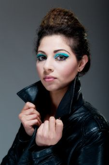 Free Female Against Grey With Colourful Make Up Royalty Free Stock Images - 20290749