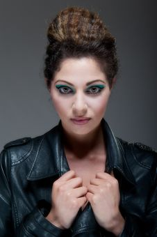 Free Female Against Grey With Colourful Make Up Stock Images - 20290794