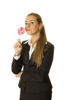 Free Attractive Business Woman With A Lollipop Stock Image - 20290881